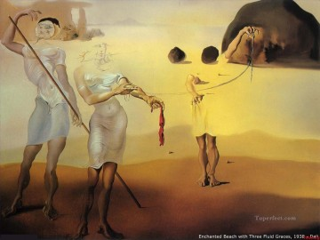 Enchanted Beach with Three Fluid Graces Surrealism Oil Paintings