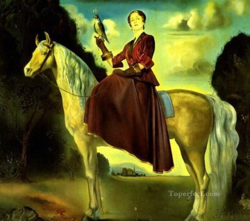 Equestrian Fantasy Portrait of Lady Dunn Surrealism Oil Paintings