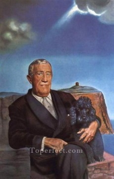 Portrait of Chester Dale and His Dog Coco 1958 Surrealism Oil Paintings