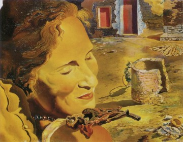 Surrealism Painting - Portrait of Gala with Two Lamb Chops Balanced on Her Shoulder Surrealism