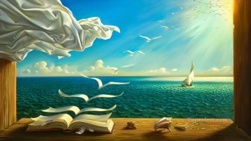 diary of discoveries surrealism books seagulls ship Oil Paintings