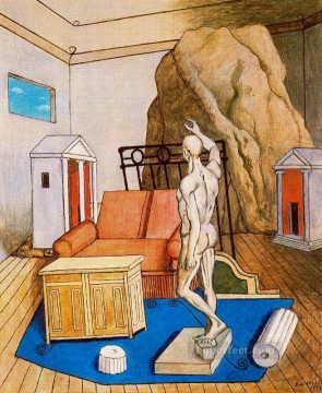 furniture and rocks in a room 1973 Giorgio de Chirico Surrealism Oil Paintings
