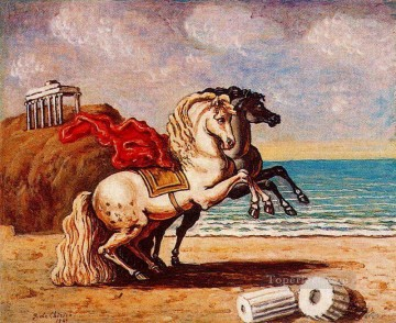 horses and temple 1949 Giorgio de Chirico Surrealism Oil Paintings