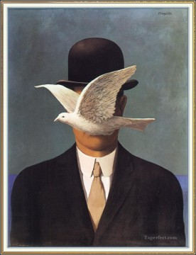 man in a bowler hat 1964 Surrealism Oil Paintings