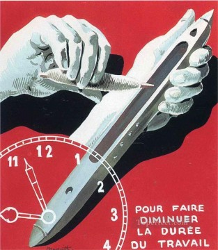 Working Works - project of poster the center of textile workers in belgium to reduce working hours 1938 Surrealism