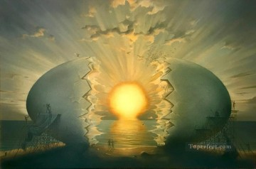 sunrise by the ocean II surrealism Oil Paintings