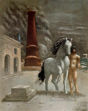 the bank of thessaly 1926 Giorgio de Chirico Surrealism Oil Paintings