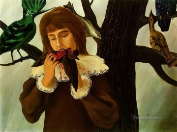 young girl eating a bird the pleasure 1927 Surrealism Oil Paintings