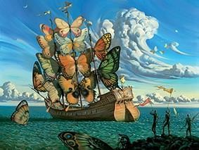 Departure of the Winged Ship with Butterfly surrealism Oil Paintings