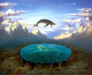 modern contemporary 02 surrealism fish mountains Oil Paintings