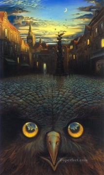 modern contemporary 07 surrealism owl bird city Oil Paintings