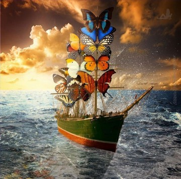 butterfly Painting - modern contemporary 22 surrealism butterfly ship