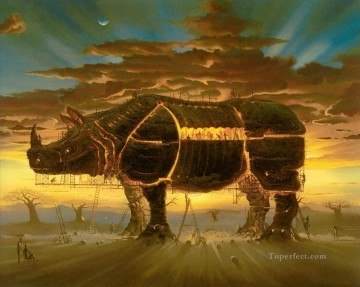 modern contemporary 25 surrealism rhinoceros Oil Paintings