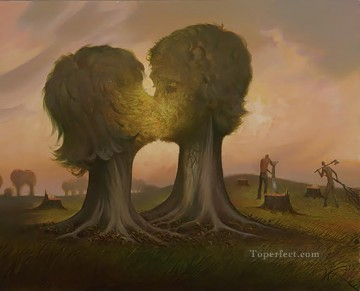 ray of hope surrealism kissing trees Oil Paintings