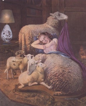Reclining girl in sheep Surrealism Oil Paintings