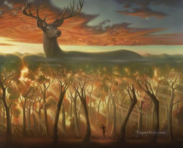 behind the trees surrealism deer hunting Oil Paintings