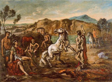 horse racing Painting - knights and horses by the sea Giorgio de Chirico Surrealism