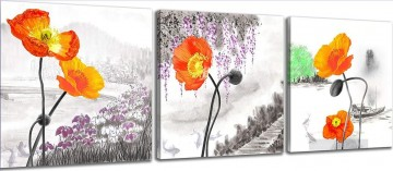 flowers in ink style in set panels Oil Paintings