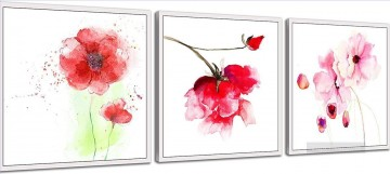 pink flowers in set panels Oil Paintings