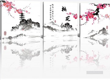 Set Group Painting - plum blossom in ink style in set panels