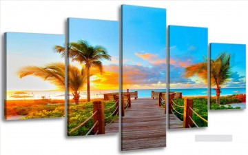 panels Painting - sunrise seaside in set panels