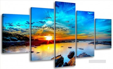 seascapes seascape Painting - sunset seascape in set panels