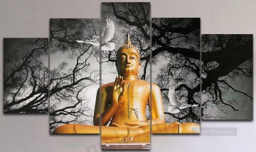 Buddha and pigeon in set panels Oil Paintings