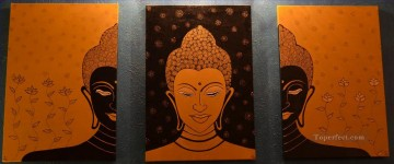 Buddha in orange in set panels Oil Paintings