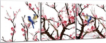birds in plum blossom in set panels Oil Paintings