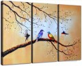 birds in white plum blossom in set panels