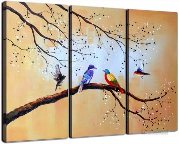 birds in white plum blossom in set panels Oil Paintings