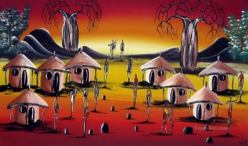 African hamlet Oil Paintings