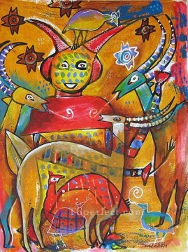 African Oil Painting - Dancer and Gazelles African