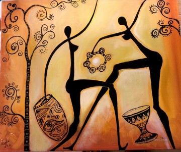 African Oil Painting - dancing nude porcelain and trees African