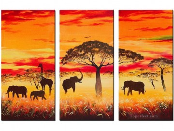 African Painting - elephants under trees in sunset African