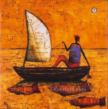 African Painting - fishing woman and fishes in yellow African