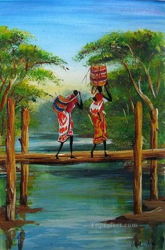 African Oil Painting - Africans on the single plank bridge
