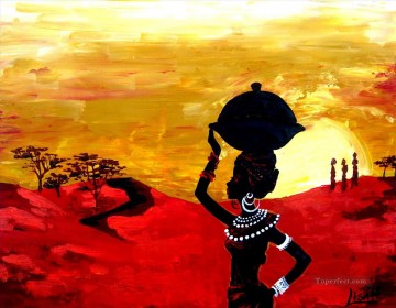 African Painting - Black woman with jar in sunset African