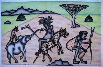 African Painting - On Leopard African