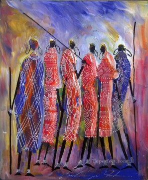 African Painting - a team of hunters Bulinya African