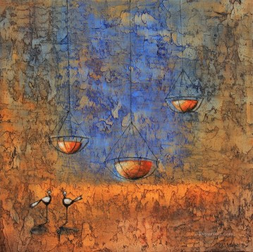 African Painting - birds and bowl African