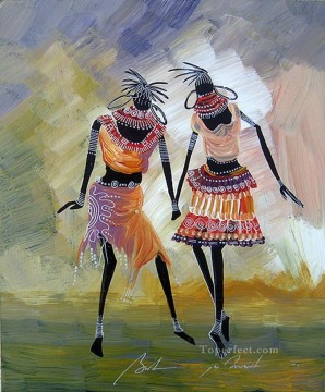 African Painting - black dancers African