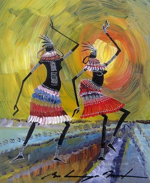 African Painting - black dancers decor thick paints African
