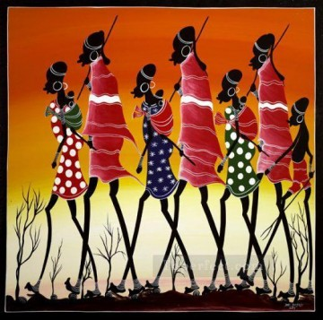 African Painting - black hunters back to home African