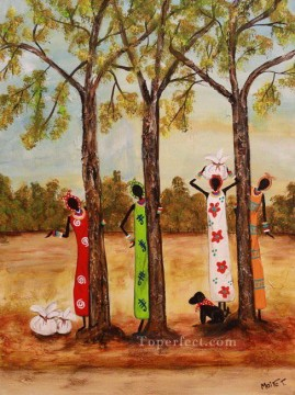 African Painting - black women near trees African