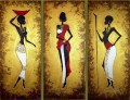 black women with gold powder in triptych African