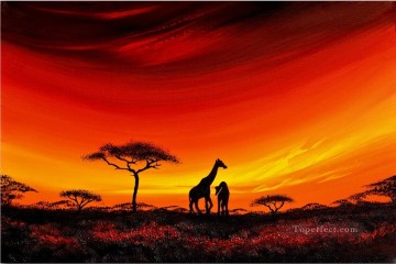African Oil Painting - giraffes on grassland in sunset African