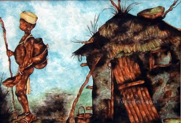 African Oil Painting - mungainofuture out African