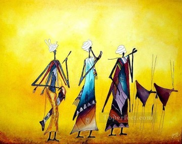 African Painting - the life in yellow African