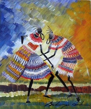 African Painting - thick paints black dancers African